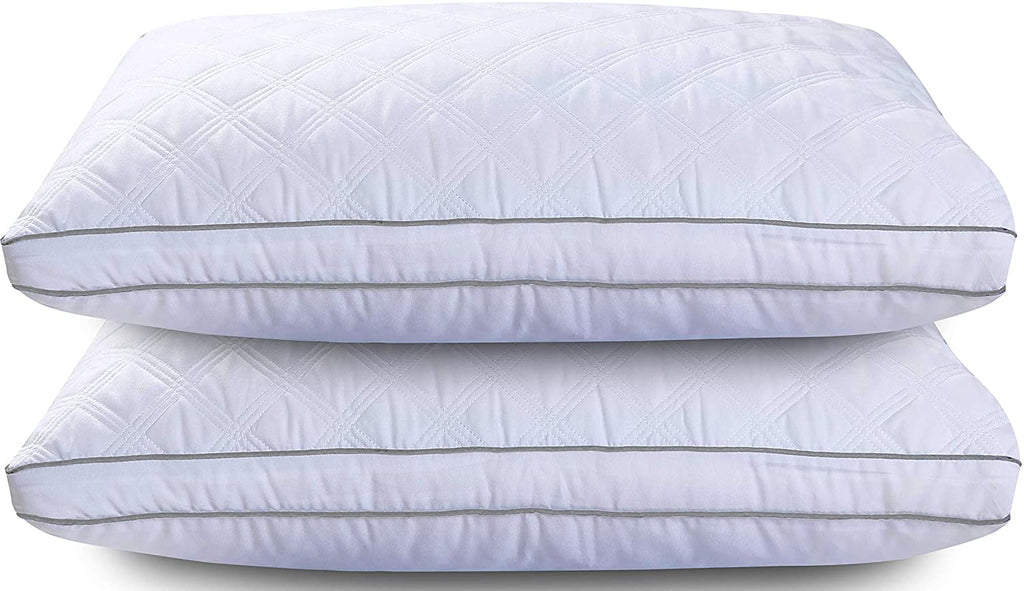 Set of 2 Premium Gusseted Quilted Bed Pillows for Side Sleepers and Back Sleepers