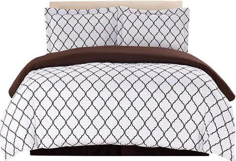 3-Piece Duvet Cover Set (White/Chocolate)