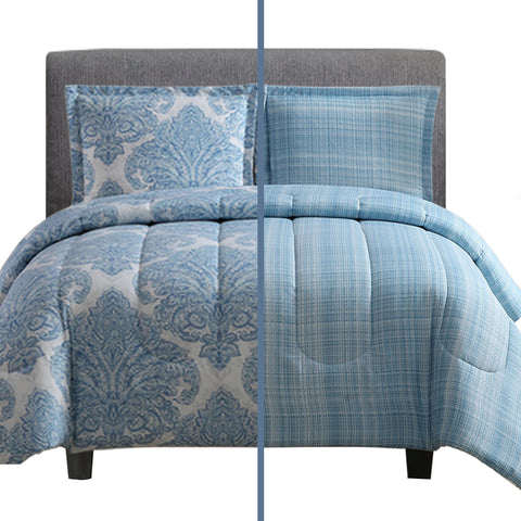 3-Piece Reversible Duvet Cover Set (Medallions Blue)