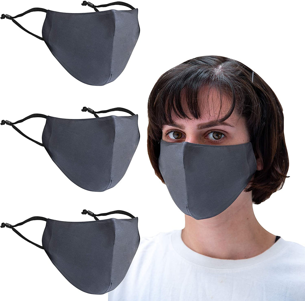 3 Pack Bamboo Rayon Material -Adjustable Earloop mask - Washable, Reusable, Breathable Face Mask
