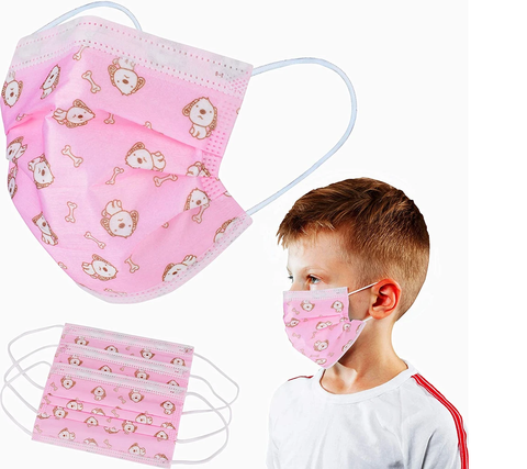 100 Pack Kids Disposable Face Masks - 3 PLY, Breathable & Comfortable