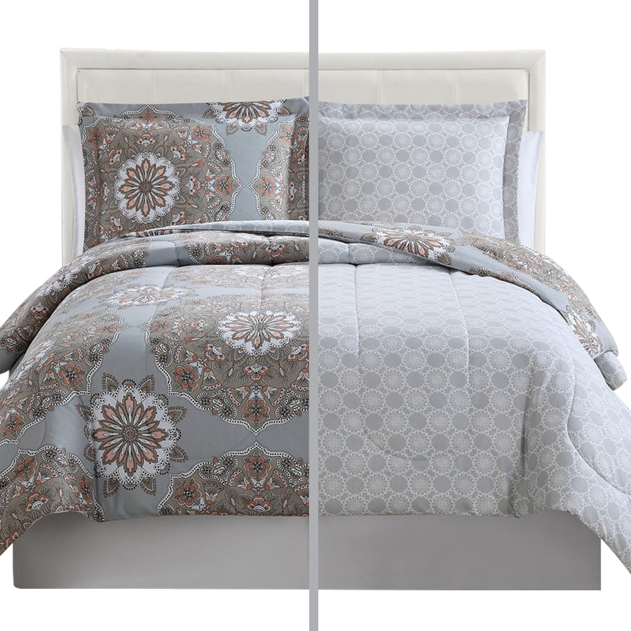 3-Piece Reversible Duvet Cover Set (Marlo Grey Brown)