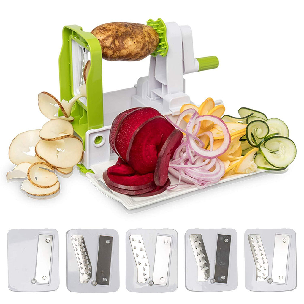 5-Blade Vegetable Spiralizer and Slicer - Strong & Heavy Duty Vegetable Spiral Slicer
