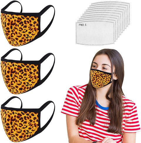 3 Pack Leopard Reusable Face Mask-10 Filters - Washable, Reusable & Breathable