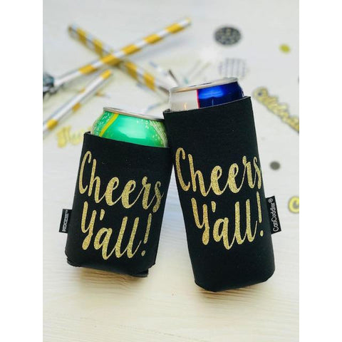 Gold Glitter Cheers Y'all ®Can Cuddler ®-Select your size; Slim or Skinny Can, Standard can, water bottle holder
