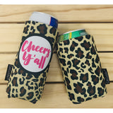 Leopard Cheers Y'all® Can Cuddler ® Select your size; standard can, slim can or 16-20 oz bottle