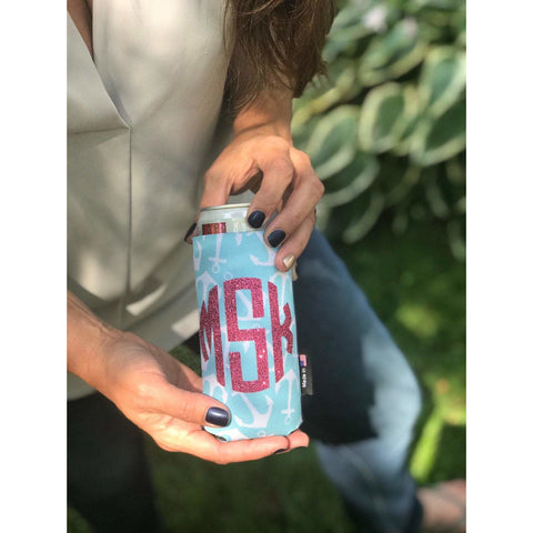 Monogram Anchors Can Cuddler® Select your size - standard can, slim can or 16-20 oz bottle