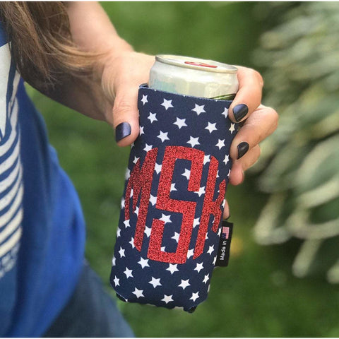 Monogram Blue Stars Can Cuddler® Select your size - standard can, slim can or 16-20 oz bottle