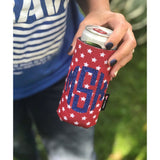 Monogram Red Stars Can Cuddler ® Select your size - standard can, slim can, 16-20 oz water bottle