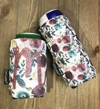 Personalized Merlot and Navy Floral Can Cuddler® - Select your size; standard can, slim can or 16-20 oz bottle