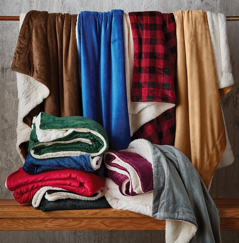 Monogrammed Fleece Sherpa Blanket