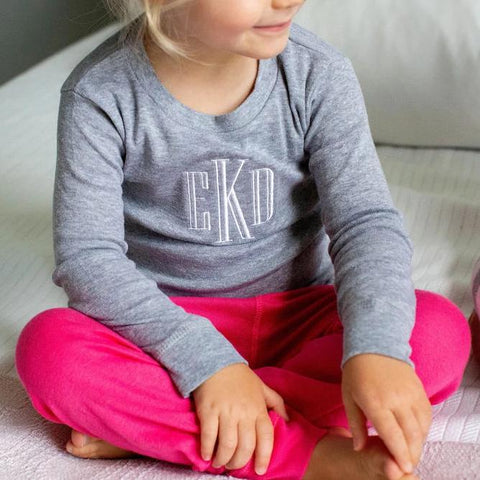 Girls Monogrammed Pajama Set