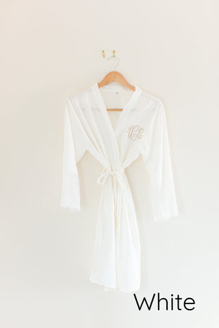 Silky and Lace Bridesmaid Robe White