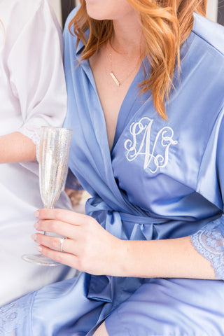 Adele Silky and Lace Bridesmaid Robe