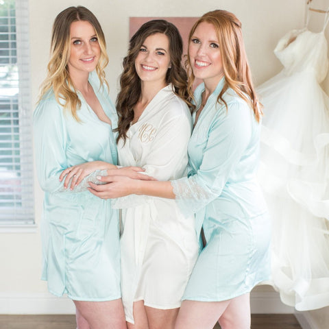 Silky and Lace Bridesmaid Robe