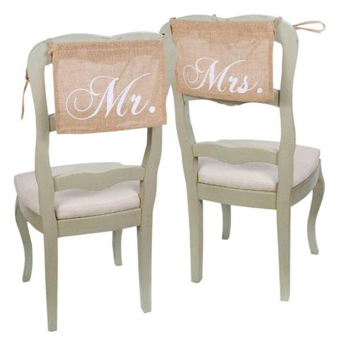 Mr. and Mrs. Burlap Chair Signs