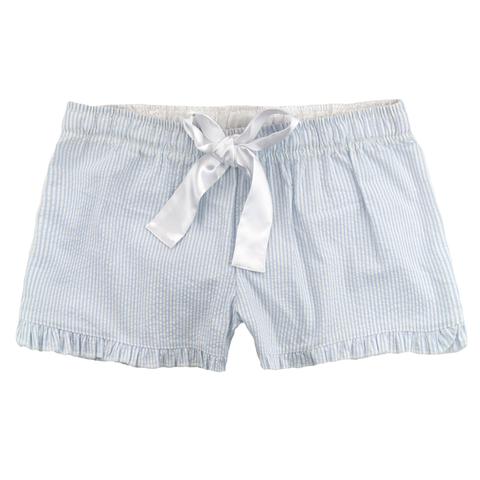 Light Blue Seersucker Monogrammed Shorts