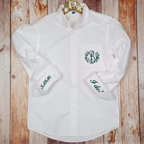 Monogrammed Cuff and Pocket Button Down