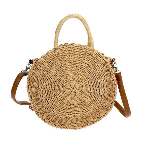Round Straw Wicker Handbag