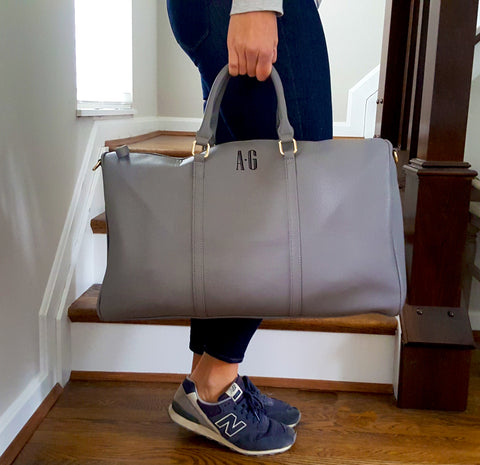 Grey Vegan Leather Overnight Duffel