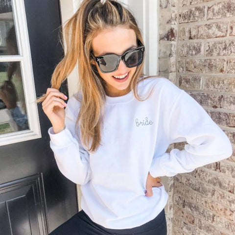 Bride Embroidered Crew Neck Sweatshirt