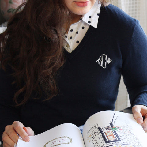 Knit V-Neck Monogrammed Sweater