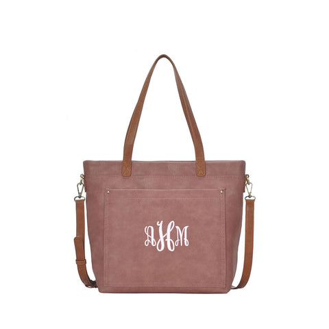 Monogrammed Two Tone Shoulder Bag