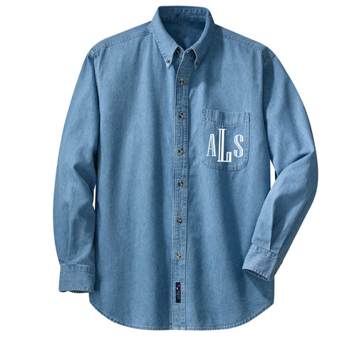 Monogrammed Denim Button Down Top