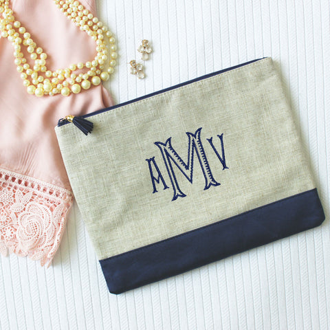 Linen Monogrammed Pouch with Tassel