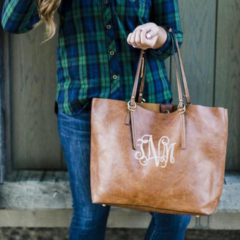 Large Monogrammed Tote 2-in-1