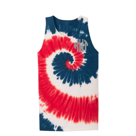 Red, White and Blue Tie-Dye Tank