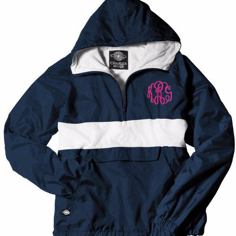 Striped Half-Zip Rain Jacket