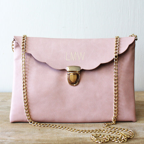 Blush Scallop Clutch Crossbody