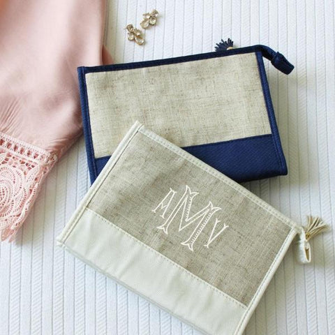Linen Cosmetic Pouch with Tassel