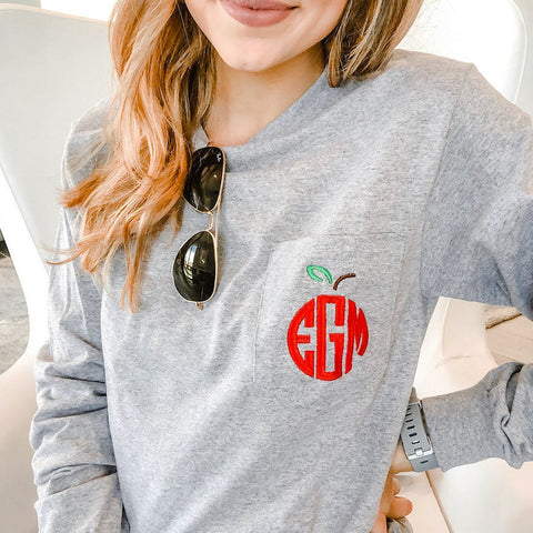 Apple Monogram Long Sleeve T-Shirt