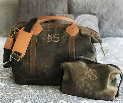 Waxed Canvas Duffel and Dopp Kit Set