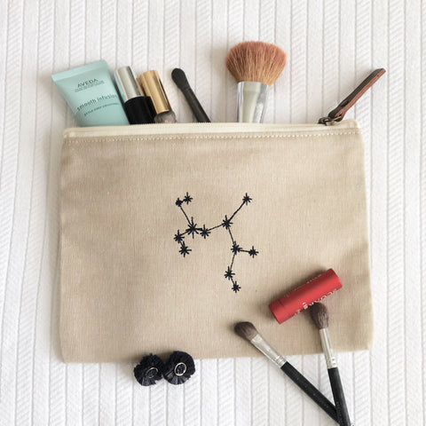 Zodiac Constellation Embroidered Makeup Pouch