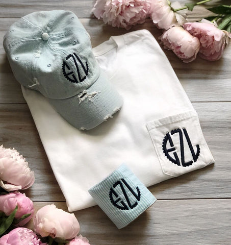 Summer Fun Monogram Bundle | T-shirt | Hat | Can Wrap