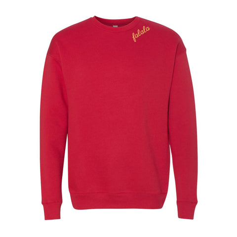 Falala Crewneck Sweater - Red with Straw thread