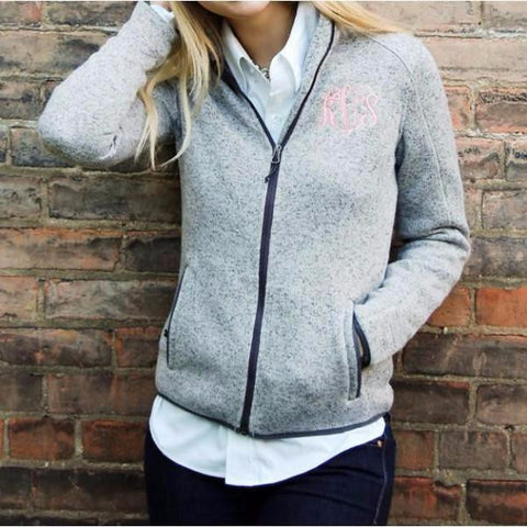 Heathered Knit Full Zip Up