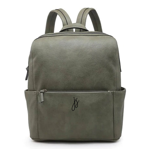 Monogrammed Full Size Vegan Leather Backpack