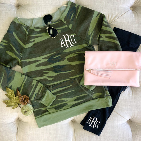 Monogrammed Camo Raw Edge Pullover