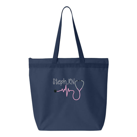 Personalized Nurse Zippered Tote Bag