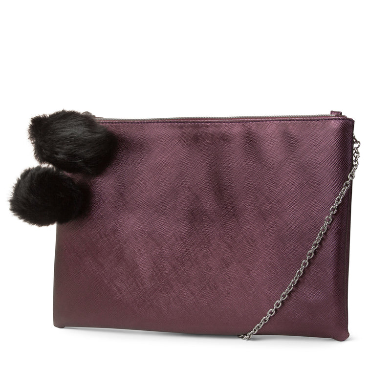 Dylan Pom Top Zip Clutch (Purple)