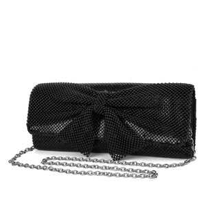 Jessica McClintock Hailey Bow Clutch - Black - Front