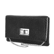 Trina Metal Mesh Clutch - Black - Front