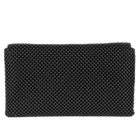Trina Metal Mesh Clutch - Black - Back