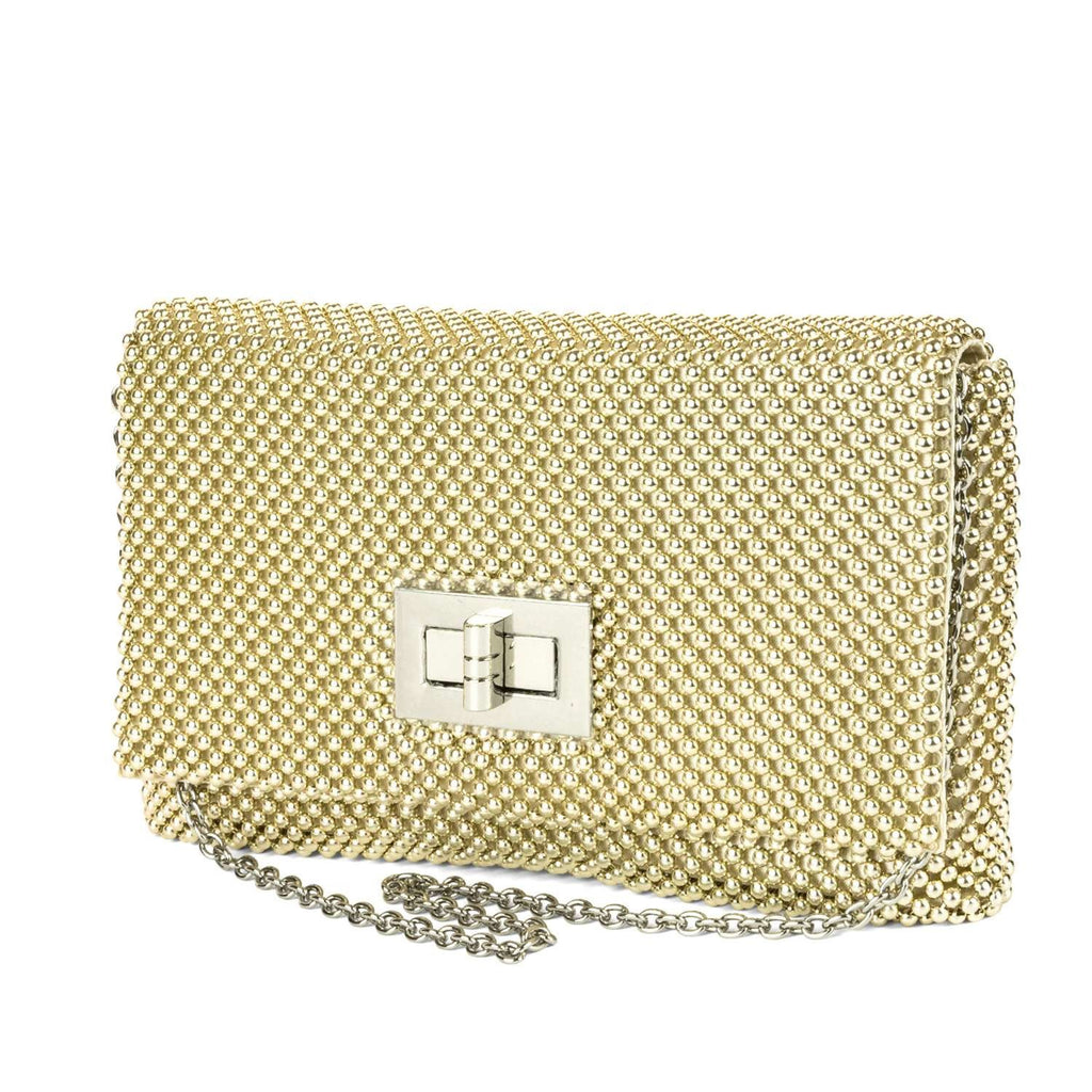 Trina Metal Mesh Clutch - Gold - Front