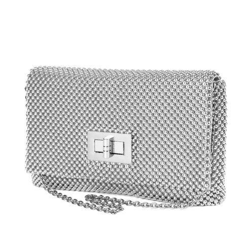 Trina Metal Mesh Clutch - Silver - Front