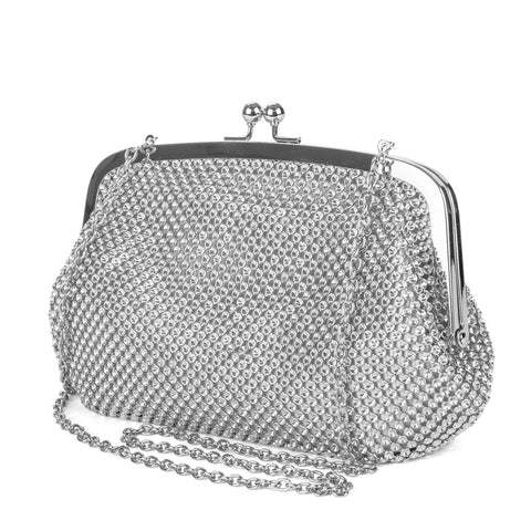 Linda Beaded Metal Mesh Bag